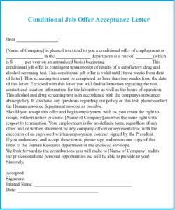 Job Offer Acceptance Letter with Conditions