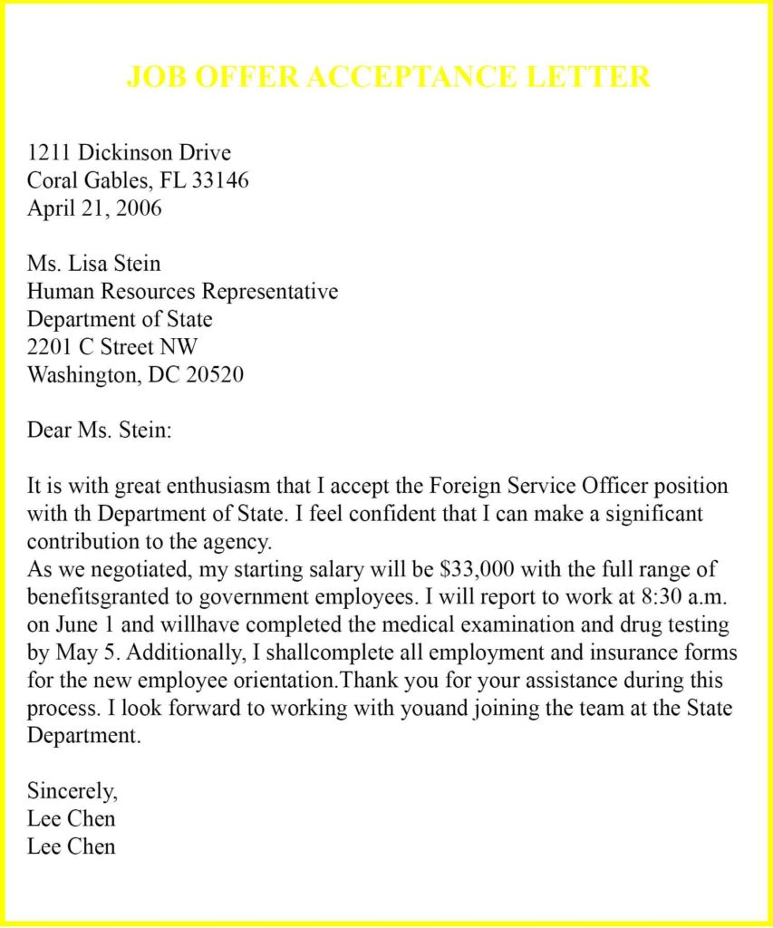 Job Acceptance Letter Format Template, JOB OFFER ACCEPTANCE LETTER SAMPLE