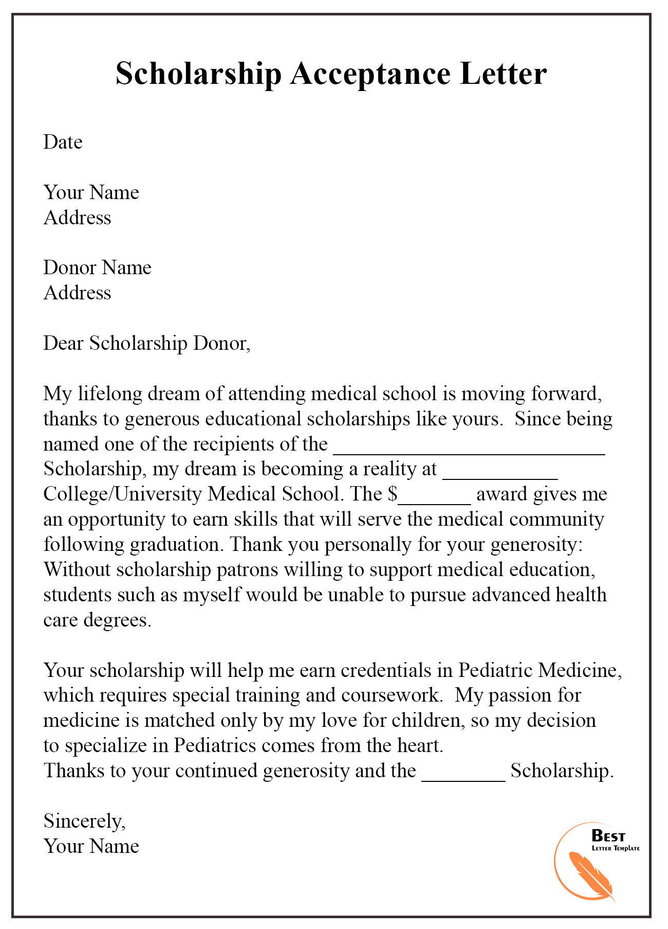 Scholarship Acceptance Letter Example