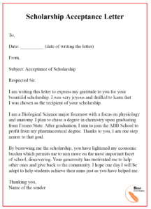 How To Write A Scholarship Acceptance Letter