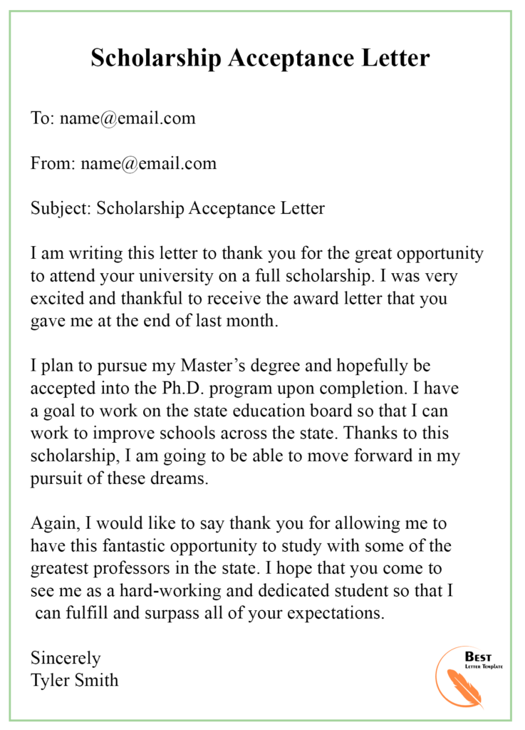 Scholarship Acceptance Email