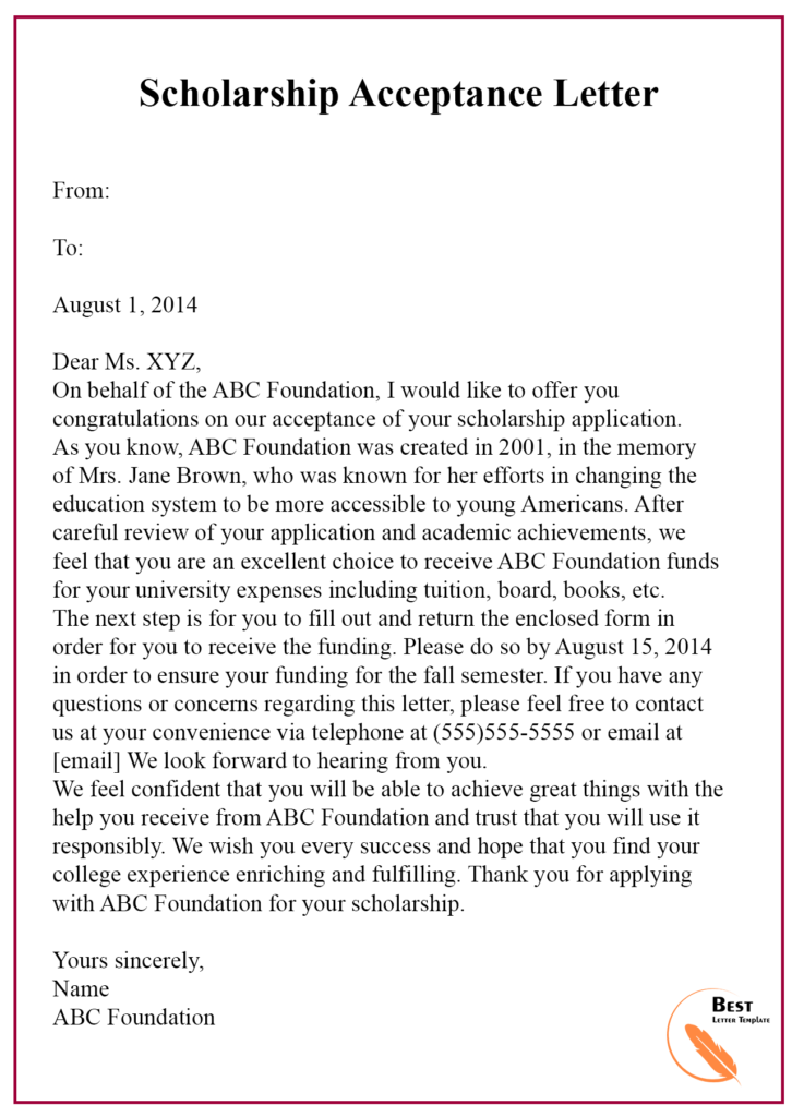 Request For Scholarship Acceptance Letter