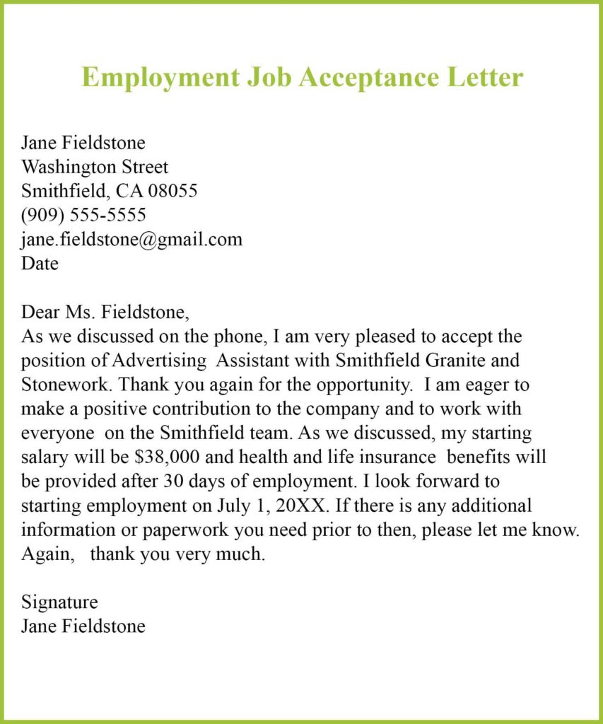 Sample of Employment Job Acceptance Letter, Employment Job Acceptance Letter