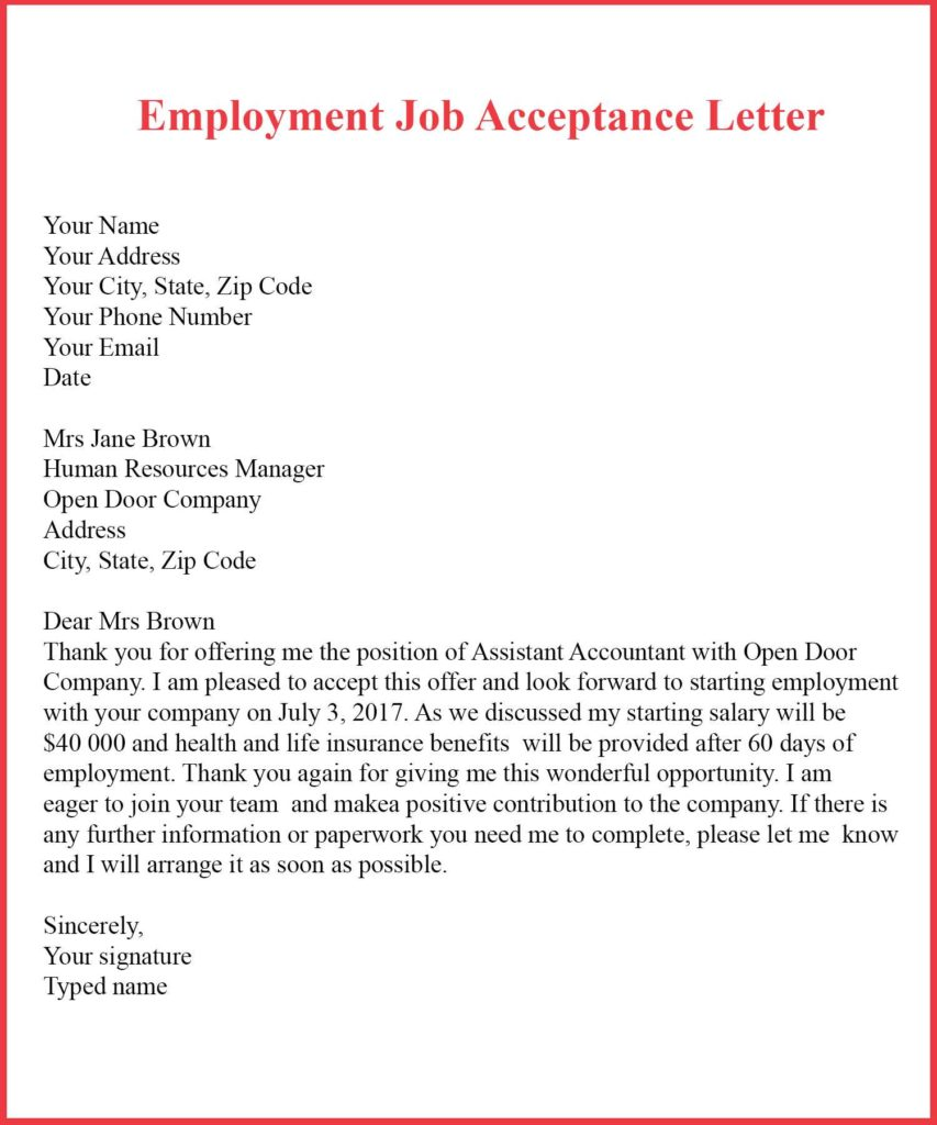 Examples of Job Acceptance Letter, Employment Job Acceptance