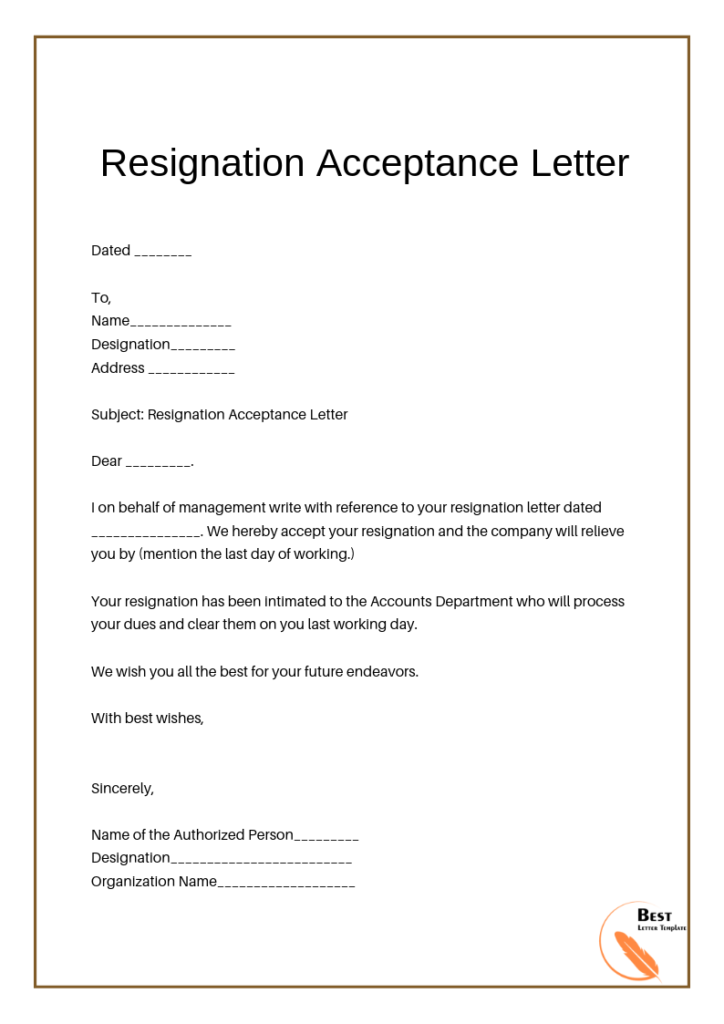 Resignation Acceptance Letter Example