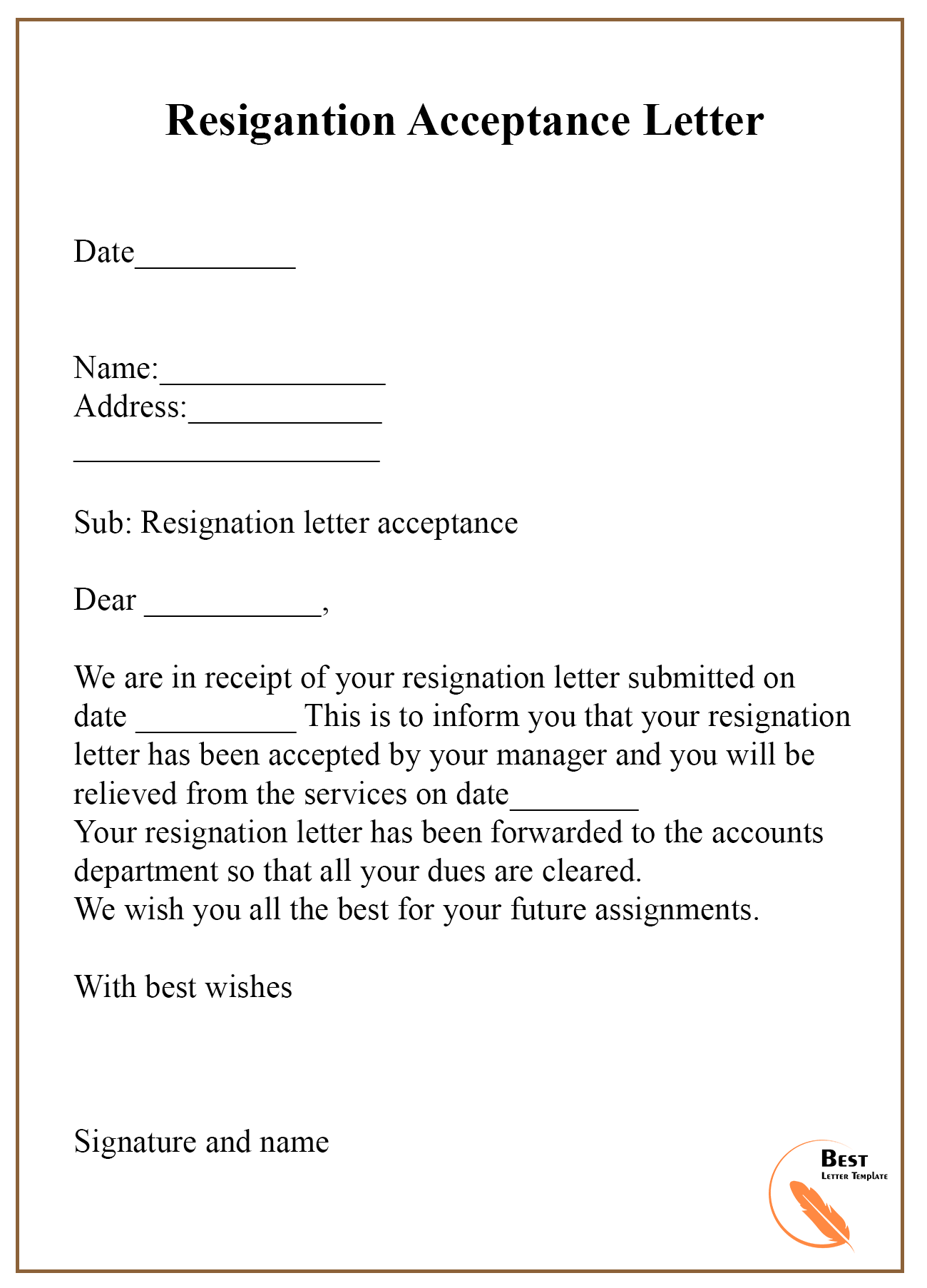 9+ Resignation Acceptance Letter Template [Examples ...