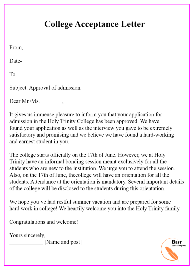 How To Respond To College Acceptance Letter