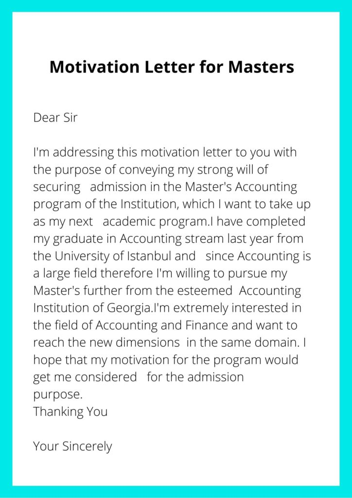 Sample Motivation Letter for Masters Degree in Accounting