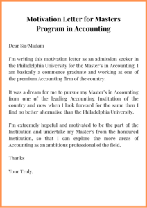 Motivation Letter for Masters Program in Accounting