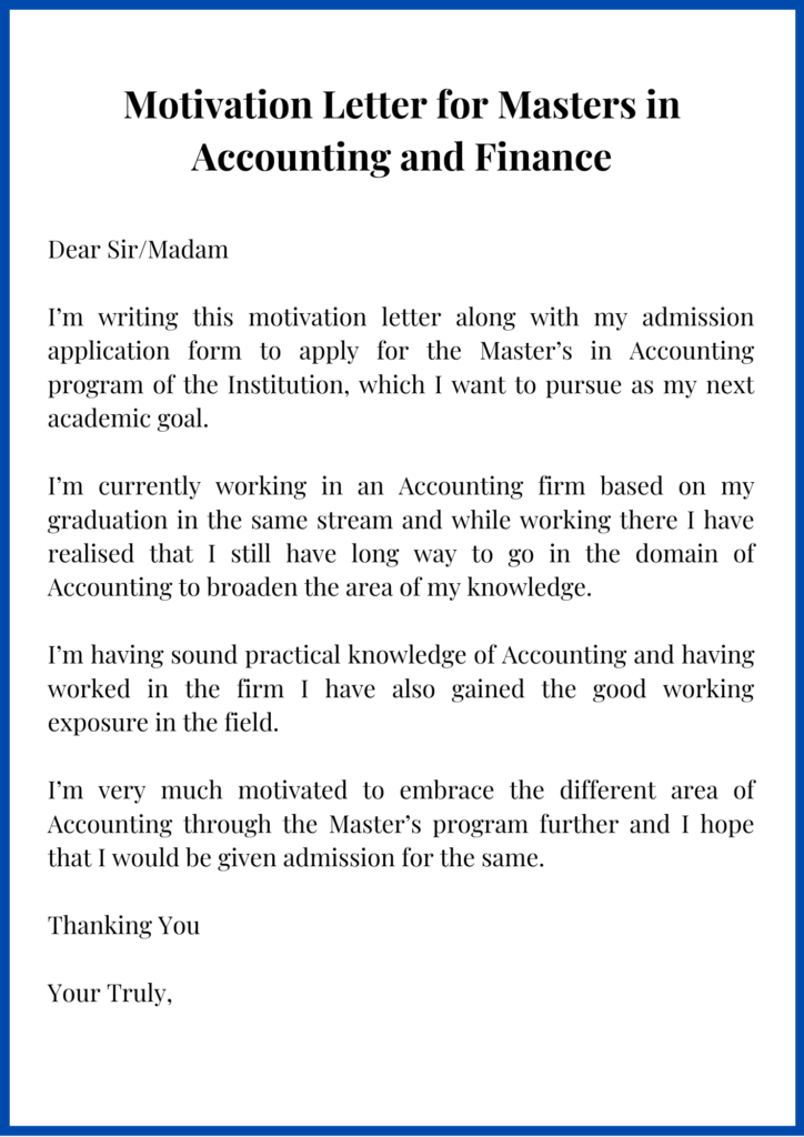 Motivation Letter for Masters in Accounting and Finance