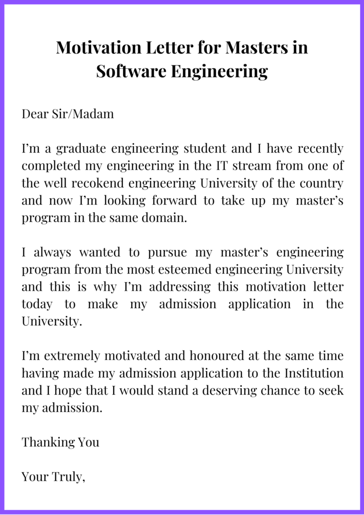 Motivation Letter for Masters in Software Engineering
